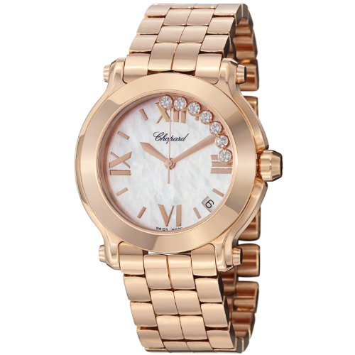 - Chopard Happy Sport Round Ladies Mother of Pearl Dial Rose Gold Diamond Watch 277472-5002