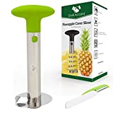 Stainless Steel Pineapple Corer Slicer Peeler + GIFT Fruit & Vegetable Multi-function Peeler + BONUS eBook with Best Pineapple Recipes, 3 in 1 Premium Kitchen Gadget by Dual Accord (Green)