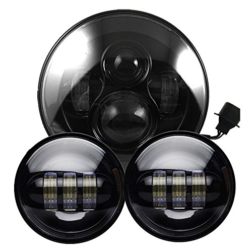 Black Harley Daymaker 7 Inch Round LED Headlight With Matching Black 4.5  Inch LED Passing Lamps For Harley Davidson Motorcycles