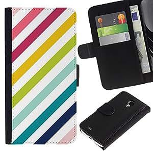 All Phone Most Case / Oferta Especial Cáscara Funda de cuero Monedero Cubierta de proteccion Caso / Wallet Case for Samsung Galaxy S4 Mini i9190 // Stripes Diagonal White Teal Lines