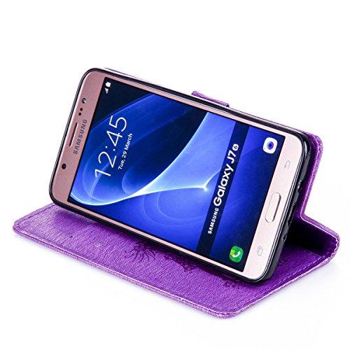 Funda Galaxy J7(2016), Funda de brillo Galaxy J7(2016), Lifetrut Sólido Shiny Sparkle Libro de Estilo de Cuero con Ranura para Tarjetas de Cierre Magnético Soporte Funda de Teléfono de la Función con  E205-Púrpura