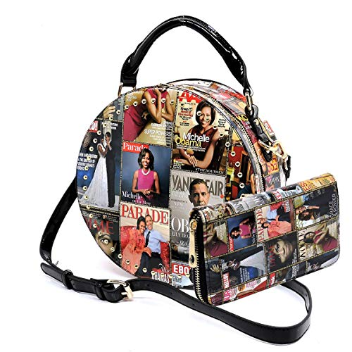 Glossy magazine cover collage crossbody bag purses Michelle Obama round crossbody and wallet 2pcs set (Multi)