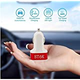 SToK 5.1 Amp Output (Red & White (ST-CC01) With 3 USB Port Compatible Certified Car Charger For Apple iPhone, Samsung, Micromax, HTC, Nokia, OnePlus, Xiaomi & All Other Smartphones And Tablets - Smallest Car Charger With 3 Fast Charging USB Ports - Red & White (ST-CC01)