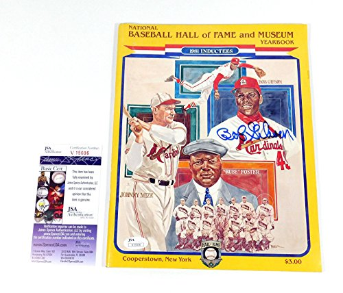 Bob Gibson Signed Baseball HOF 1981 Yearbook Auto - JSA Certified - Autographed MLB Magazines