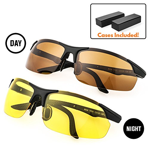 My Night Vision Glasses | 2pcs HD Anti-Glare Polarized Glasses | Yellow Lens for Night Vision & Copper Lens for Day Time Driving | Durable UV400 Protected Polarized Lenses | - Use Why Polarized Sunglasses