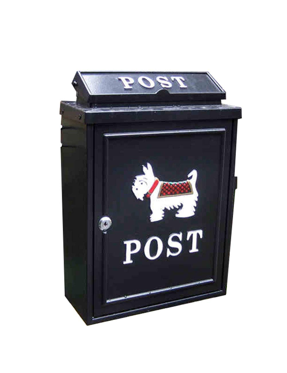 European Mailbox Outdoor Waterproof Wall-Mounted Decoration with Lock Postbox Printing and Painting Process Cast Iron Craft for Outdoor Place Letter Box