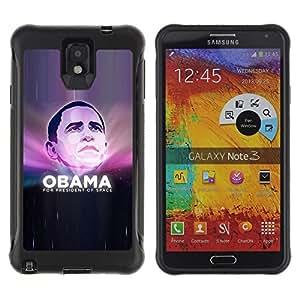 All-Round híbrido Heavy Duty de goma duro caso cubierta protectora Accesorio Generación-II BY RAYDREAMMM - Samsung Galaxy Note 3 - Obama President Space Universe Funny