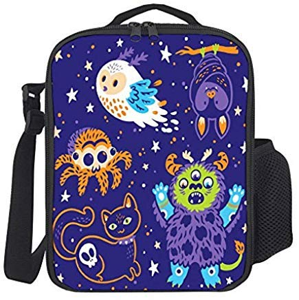 (Portable Thermal Insulated Lunch Bag Funny Halloween Collection Of Cartoon Animals Picnic Lunch Boxes Food Handbag With Shoulder Strap For Boys Girls Teens Women)