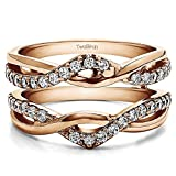 TwoBirch 0.23 ct. Cubic Zirconia Criss Cross Infinity Ring Guard Enhancer in Rose Gold Plated Sterling Silver (1/4 ct. twt.)