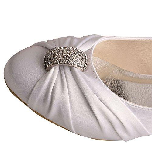 Wedopus MW933 Almond Tacón Satin Rhinestones Blanco Party Wedding Zapatos Mujeres bajo Court Toe rrqagd