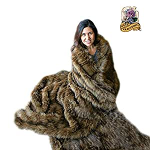 Premium Faux Fur Brown Spotted Lynx throw Blanket / Bear Skin / Wolf w/ Soft Minky Cuddle Fur Lining (5'x8')
