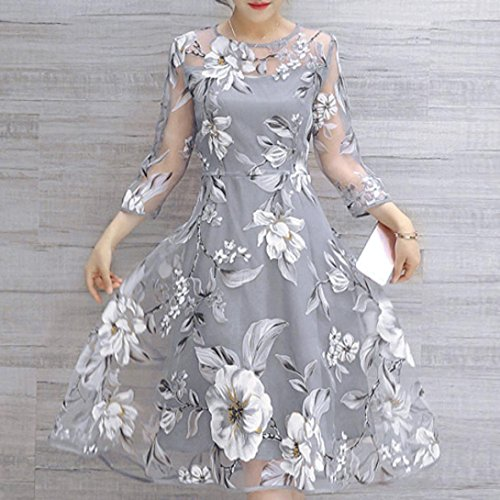 AIMTOPPY Women's Summer Three-quarter sleeves Organza Floral Print Wedding Party Ball Prom Gown Cocktail Dress (XL, Gray) by AIMTOPPY (Image #3)