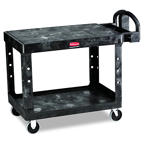 Rubbermaid Commercial Structural Resin Service Cart, 2 Shelves, Black, 2000-Pound Capacity, 33-1/3-Inch Height, 43-7/8-Inch Length X 25-7/8-Inch - Cart Black Capacity