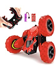 Gifts for 6-10 Year Old Boys Girls Remote Control Car for Kids RC Stunt Cars 1:28 RC Crawler Off Road Truck 360 Degree Rotation 4WD Summer Beach Toys for Children Red Christmas Birthday Gift