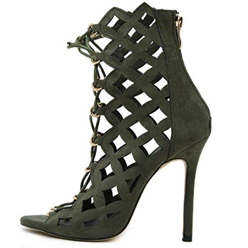 LvYuan-mxx Zapatos de los altos talones de las mujeres / verano del resorte / parte posterior hueco romana del laser de la rebeca / club nocturno atractivo / oficina y carrera Partido y vestido de noc ARMYGREEN-US55EU36UK35CN35