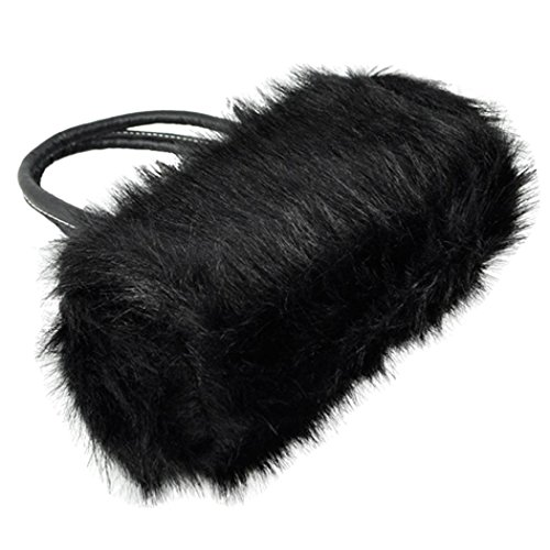 fourre TOOGOO en fourrure Sac bandouliere d'hiver en noir a cuir 1XW1n