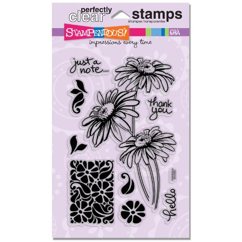STAMPENDOUS SSC1105 Perfectly Clear Stamp, Daisy Stem Trio ()