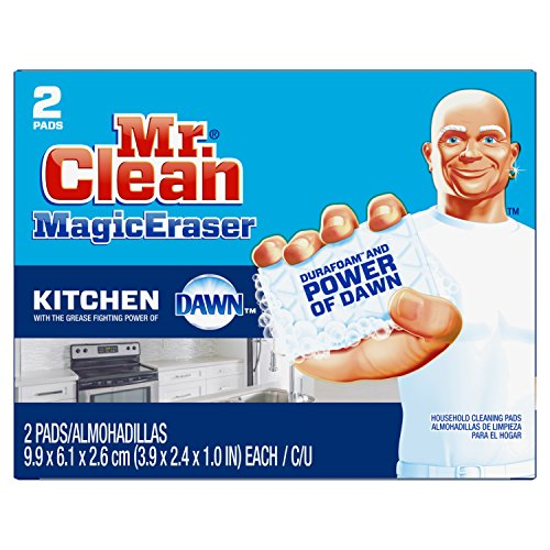 Mr. Clean Magic Eraser Kitchen, Cleaning Pads with Durafoam, 2 Count (Packaging May Vary)