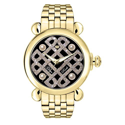 GLAM ROCK WOMEN'S VINTAGE DIAMOND 40MM SWISS QUARTZ ANALOG WATCH GR28038-BR