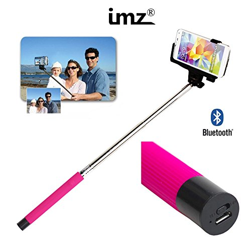 Thumb Two Position Clamp (IMZ® Hot Pink Extendable Self-portrait Selfie (Wesie) Wireless Bluetooth Remote Camera Shooting Shutter Monopod Handheld Stick Pole with Mount Holder specially designed for Iphone 6 Plus 6 5s 5c 5 4s 4 Samsung Galaxy and HTC Mobile Cell Phone - Hot Pink)