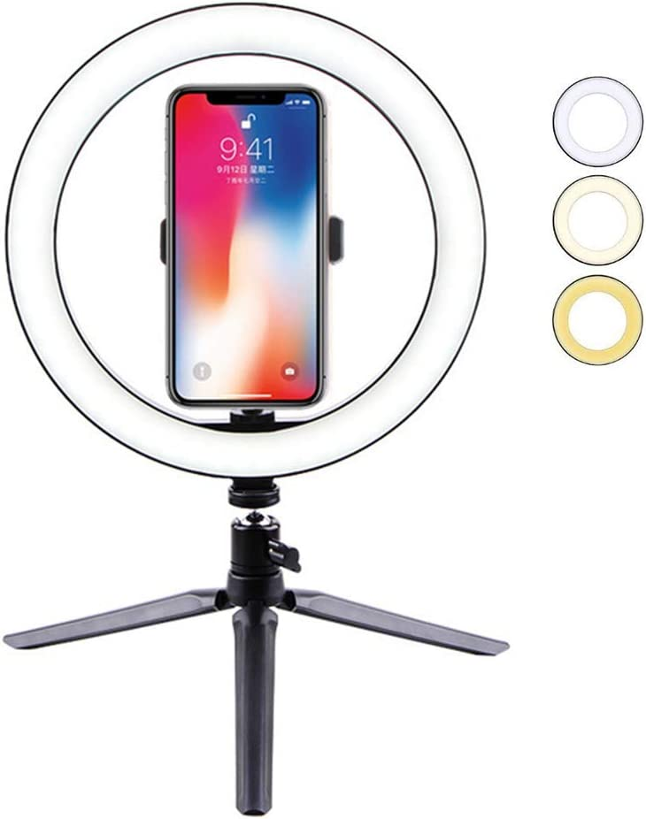 LED Ring Light with Tripod Stand for Live Streaming /& YouTube Video Dimmable Desk Makeup Ring Light for Photography Shooting with 3 Light Modes,26cm+pc