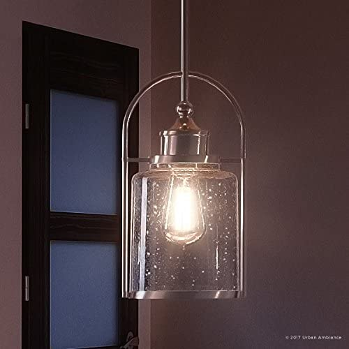 Luxury Transitional Hanging Pendant Light, Small Size 12 H x 6.5 W, with Industrial Style Elements, Pretty Brushed Nickel Finish and Seeded Glass, UQL2643 by Urban Ambiance