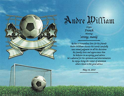 Sports Soccer - Personalized ANY First Name Meaning Keepsake Print 8.5