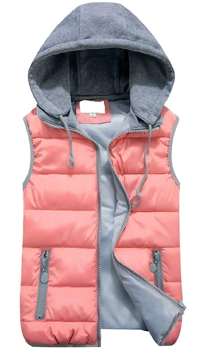 GAGA Women Slim Quilted Cotton Padded Puffer Hooded Down Vest Waistcoat