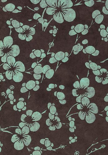 - Nepalese Cherry Blossom Paper- Blue Flowers on Black Paper 20x30 Inch Sheet
