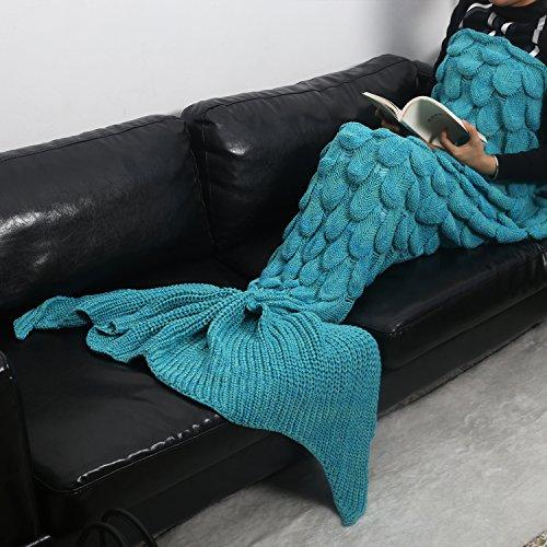 Mermaid Tail Blanket Rug Scales Pattern Sleeping Bag Handmade Wave Crochet Knitting Soft Warm for Adult Teens Kids Living Room Bedroom Sofa All Seasons (71''ⅹ35.5''(adult), cyan B)