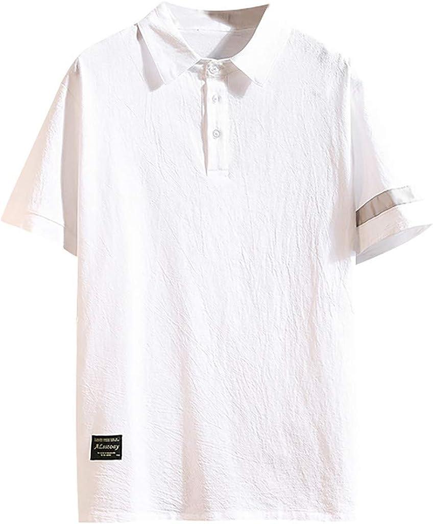 TUDUZ Camisetas Hombre Verano Manga Corta Algodón y Lino Camisas Solapa Tops: Amazon.es: Ropa y accesorios