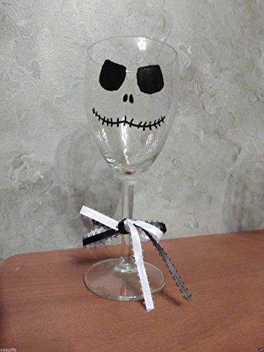 Hand Painted Jack Skellington Wine Glass