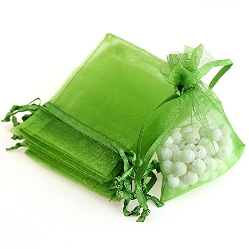"AKStore 100Pcs 2.8""x3.6""(7x9cm)Sheer Drawstring Organza Jewelry Pouches Wedding Party Christmas Favor Gift Bags (Light green)"