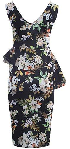 Long Womens Lilly Bodycon Black Plus Peplum Midi New PICKLE Print Dress CHOCOLATE Frill Double Slant Side Size 1BzxE