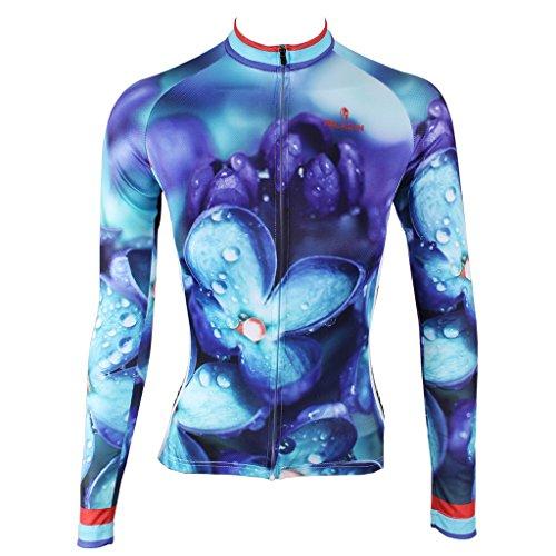 QinYing Flowers Printing Long Sleeves Cycling Bike Jersey Shirt for Women - Cheap Jerseys Women's Cycling