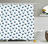 Fish Shower Curtain Walmart Modern Shower Curtain, Cute Whale Fish Swimming in The Ocean Sea Fins Marine Underwater Kids Design, Fabric Bathroom Decor Set with Hooks, 60x72 inches Extra Long, Dark and Sky Blue