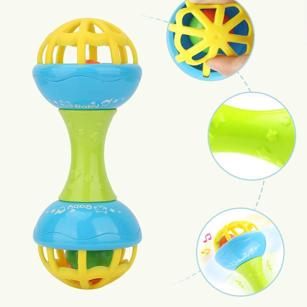 Baby Early Education Shaking Rattles Infant Teether Grasping Gums Handbell Learning Toys for 0-2 Newborn Infants Baby Rattles Toy