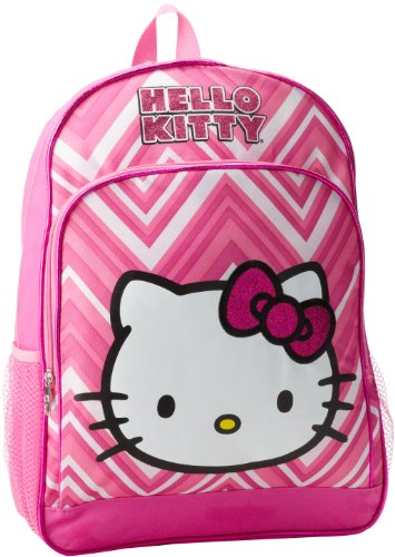 FAB Starpoint Little Girls'  Hello Kitty 16 Inch Zig Zag Backpack, White/Pink, One Size