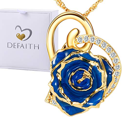 DEFAITH 24K Gold Dipped Rose Pendant Chain Necklace, Best Gifts for Wife Girlfriend Mother for Christmas Valentine's Day Anniversary Birthday Gift - Heart Blue