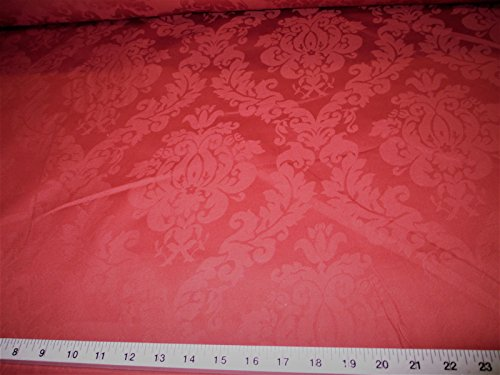 Discount Fabric Upholstery Drapery Jacquard Damask Floral Red CC10