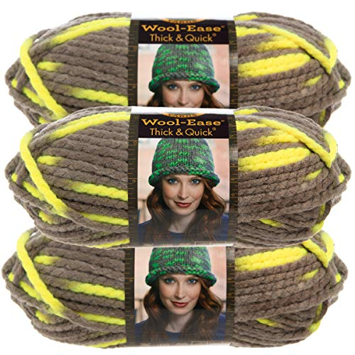 Lion Brand Yarn (3 Pack Wool Ease Super Chunky Yarn for Knitting Crocheting Soft Toucan Yellow Gray Yarn Bulky #6