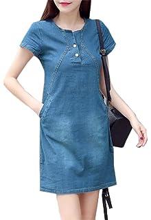 472caa740d Vgvgh Women Summer Short Sleeve Denim Wild Slim Fit A Line Short Dress