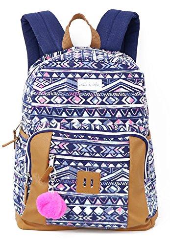 Emma & Chloe Girls Aztec Pom-Pom Vinyl-Base Cotton Backpack (One Size, Aztec Navy) by Trail maker (Image #1)