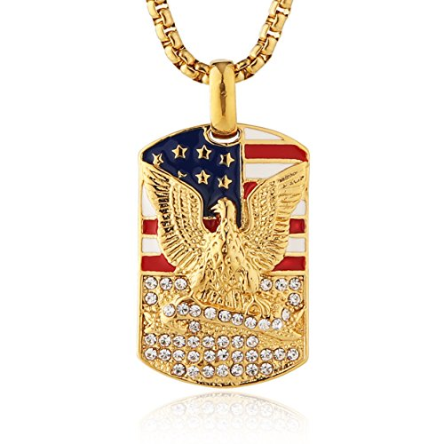 18k Gold Flag (HZMAN Men's 18k Gold Plated Stainless Steel 3D Eagle American Flag Dog Tag CZ Pendant Necklace (Dog Tag - A))