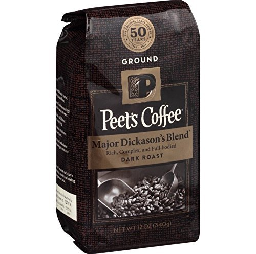 Peet's Coffee, Major Dickason's Blend, Nightfall darkness Roast, Whole Bean 32oz (2 Pack)