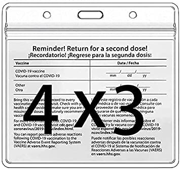 5 Pack CDC Vaccination Card Protector 4X3 in Immunization Record Vaccine Card Holders Horizontal Badge I'D Name Tag Clear PVC Sleeve Waterproof Pouch Resealable Zip w 3 Lanyard Slots for Events Travel