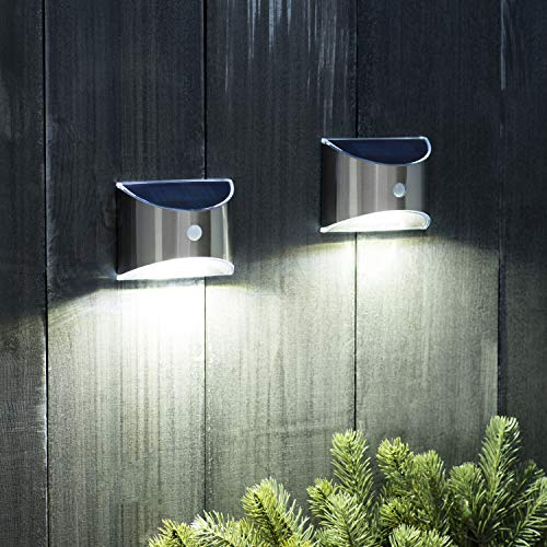 Solar Security Wall Lights Motion Sensor - 2 Pack | Rechargeable, Outdoor, Waterproof, Stainless Steel - for Patio, Lawn, Yard, Deck and Doorway