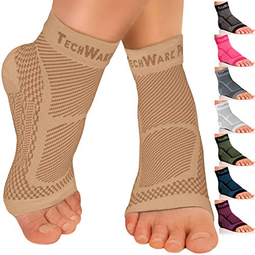 TechWare Pro Ankle Brace Compression Sleeve - Relieves Achilles Tendonitis, Joint Pain. Plantar Fasciitis Foot Sock with Arch Support Reduces Swelling & Heel Spur Pain. (Beige, L/XL)