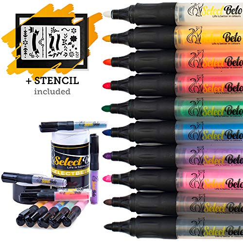 Paint Pens for Rock Painting, Ceramic, Stone, Glass, Wood, Metal, Clay, Terra Cotta. Set of 10 Acrylic Paint Markers Medium Tip with a Stencil