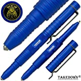 Takedown® Blue Police & Law Enforcement crafted Aircraft Aluminum alloy Flat Tip Heavy Duty Pocket Clip Replaceable Ink Cartridges Window Breaker Tactical Pen Police Emblem